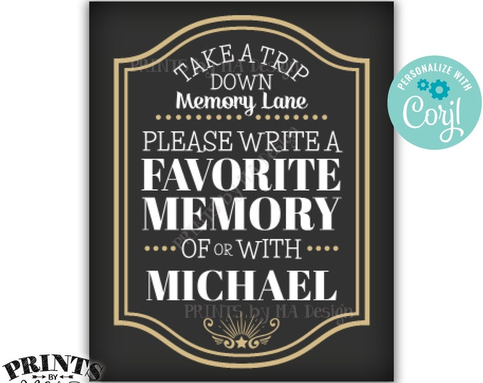 "Share a Memory Sign, Take a Trip Down Memory Lane, Cheers and Beers Party, Custom PRINTABLE 8x10/16x20"" Sign <Edit Yourself with Corjl>"