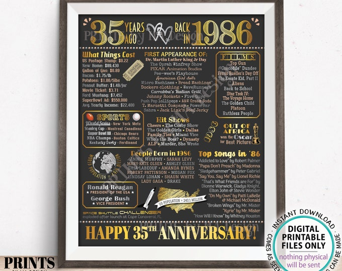"""35th Anniversary Poster Board, Back in 1986 Flashback 35 Years, Married in 1986 Anniversary Gift, PRINTABLE 16x20"""" 1986 Sign <ID>"""