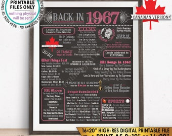 "CANADIAN 1967 Flashback to 1967 History Back in 1967, Birthday Anniversary Retirement Reunion, Chalkboard Style PRINTABLE 16x20"" Sign <ID>"