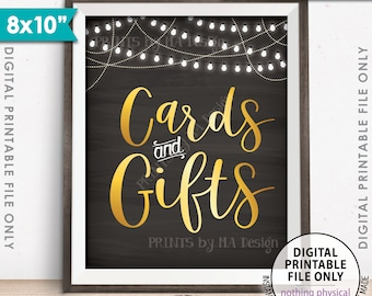 "Cards and Gifts Sign, Cards & Gifts Gift Table Sign, Wedding Sign, Birthday Party, Shower, 8x10"" Chalkboard Style Printable Instant Download"