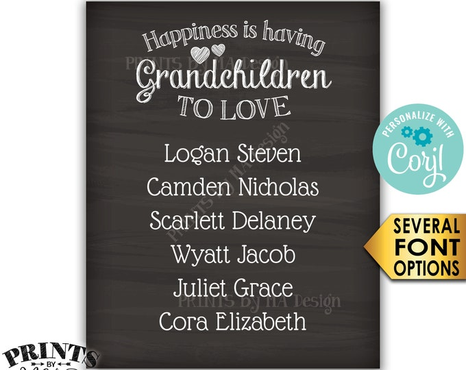 "Grandchildren Sign with Names of Grandkids, Grandparents Gift, PRINTABLE 8x10/16x20"" Chalkboard Style Sign <Edit Yourself with Corjl>"
