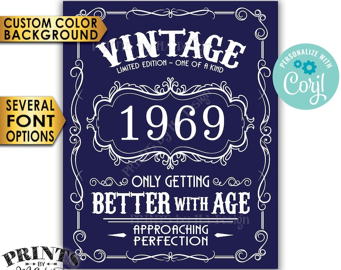 "Vintage Birthday Sign, Better with Age Liquor Themed Party, Custom Color Background, PRINTABLE 8x10/16x20"" Sign <Edit Yourself with Corjl>"