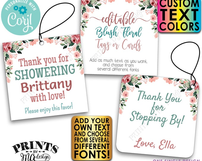 """Editable Blush Floral Tags/Cards, Party Favors, Custom Watercolor Style 3"""" Squares, PRINTABLE 8.5x11"""" Digital File <Edit Yourself w/Corjl>"""