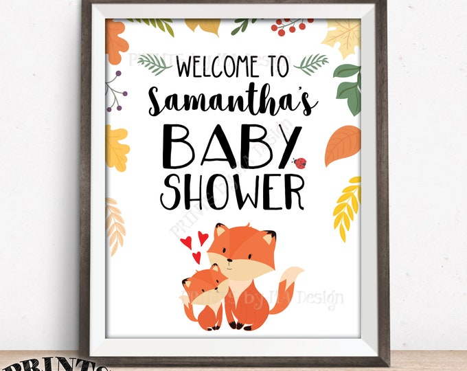 """Fox Baby Shower Welcome Sign, Woodland Animals, Baby Forest Animals Welcome Poster, Custom PRINTABLE 8x10/16x20"""" Baby Shower Foxes Decor"""