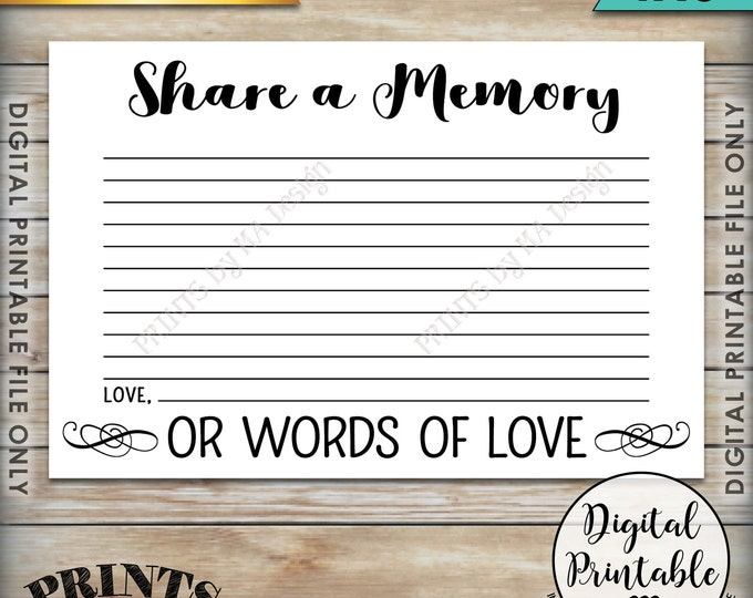 "Share a Memory Card, Share Memories, Write a Memory, Please Leave a Memory, Memorial Card, 4x6"" Instant Download Digital Printable File"