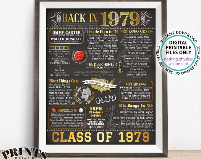 """Class of 1979 Reunion, Flashback to 1979 Poster, Back in 1979 Graduating Class Decoration, PRINTABLE 8x10/16x20"""" Chalkboard Style Sign <ID>"""