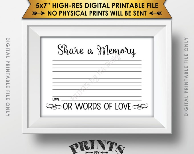 """Share a Memory Card, Share Memories, Write a Memory, Please Leave a Memory, Memorial Card, 5x7"""" Instant Download Digital Printable File"""