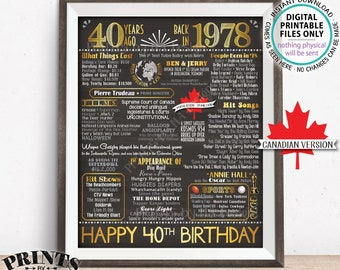 "40th Birthday Gift, Born in CANADA in 1978 Flashback 40 Years Back in 1978 Birthday, Gold, PRINTABLE 8x10/16x20"" Chalkboard Style Sign <ID>"