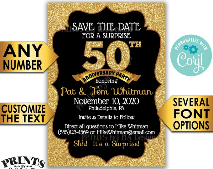"Surprise Anniversary Party Save the Date, Black & Gold Glitter STD, PRINTABLE 5x7"" Golden Anniversary Invite <Edit Yourself with Corjl>"