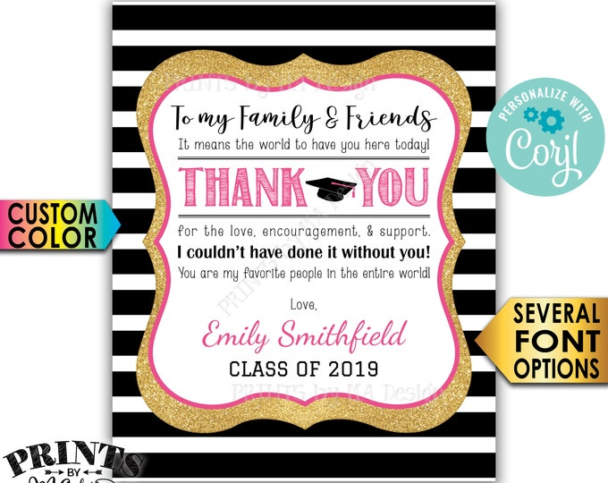 "Grad Thank You Sign, Graduation Party Decoration, Black & Gold Glitter PRINTABLE 8x10/16x20"" Sign <Edit Yourself with Corjl>"