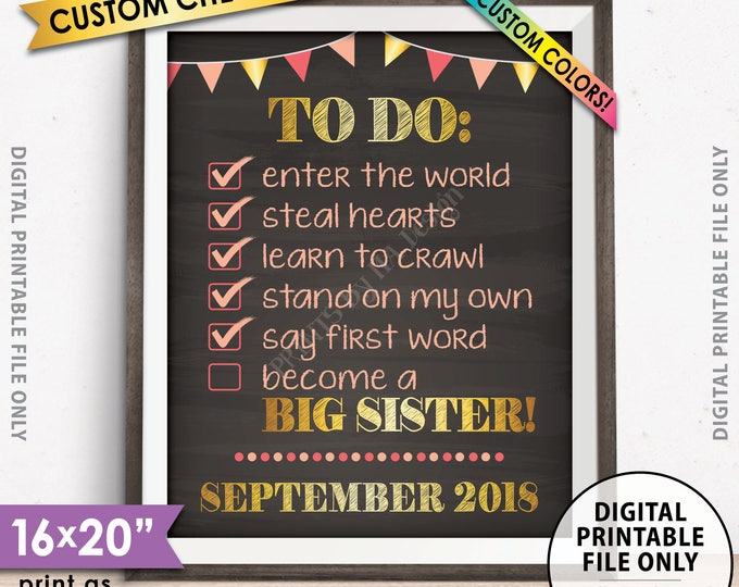"""To Do List Pregnancy Announcement, Going to be a Big Sister CUSTOM CHECKLIST, Expecting Baby #2, PRINTABLE 8x10/16x20"""" Chalkboard Style Sign"""