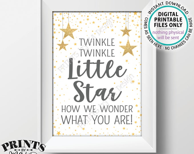 "Twinkle Twinkle Little Star Baby Shower Decor Gray & Gold Glitter, How We Wonder What You Are Gender Reveal PRINTABLE 5x7"" Stars Sign <ID>"