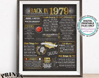 "1979 Flashback Poster, Flashback to 1979 USA History Back in 1979 Birthday Anniversary Reunion, Chalkboard Style PRINTABLE 16x20"" Sign <ID>"