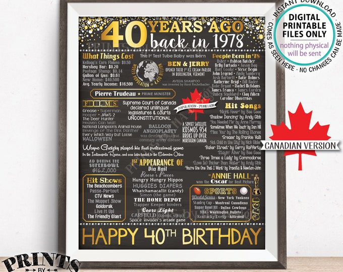 "40th Birthday Gift, Born in CANADA in 1978 Birthday Flashback 40 Years Back in 1978, Gold, PRINTABLE 8x10/16x20"" Chalkboard Style Sign <ID>"