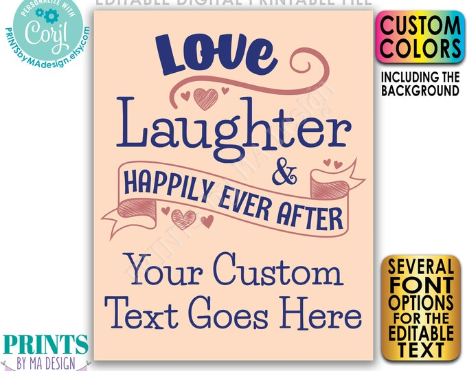 """Love Laughter Happily Ever After Bridal Shower Decoration, PRINTABLE 8x10/16x20"""" Wedding Shower Sign <Edit Yourself w/Corjl>"""