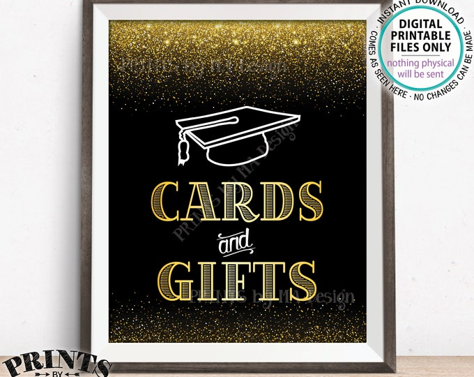 "Cards and Gifts Sign, Graduation Sign, Cards & Gifts for the Graduate Sign, Grad Gifts, PRINTABLE 8x10"" Black and Gold Grad Party Sign <ID>"