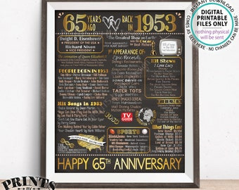 "65th Anniversary Married in 1953 Flashback to 1953 Poster Back in 1953 Sign, Gold 65th, Chalkboard Style PRINTABLE 16x20"" 1953 Sign <ID>"