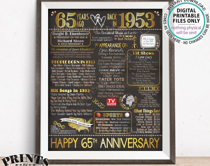 """65th Anniversary Married in 1953 Flashback to 1953 Poster Back in 1953 Sign, Gold 65th, Chalkboard Style PRINTABLE 16x20"""" 1953 Sign <ID>"""