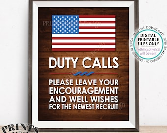 "Military Sign, Leave your Encouragement and Well Wishes, Boot Camp, Arned Forces  Party Decor, PRINTABLE 11x14"" Rustic Wood Style Sign <ID>"