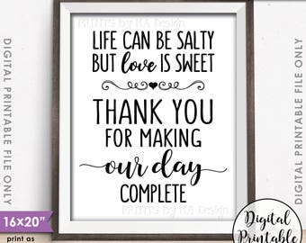 "Popcorn Sign, Life can be salty but Love is Sweet Thank you for making our day complete Sign, 16x20"" Instant Download Digital Printable File"