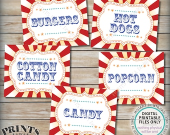"Carnival Food Signs, Food Carnival Theme Party, Cotton Candy, Hot Dogs, Burgers, Circus Theme Party, PRINTABLE 8x10/16x20"" Instant Downloads"