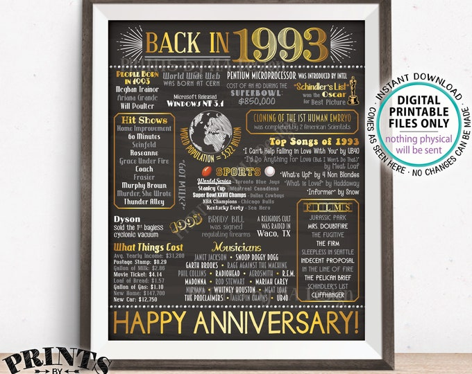 """1993 Anniversary Poster, Back in 1993 Anniversary Gift, Flashback to 1993 Party Decoration, PRINTABLE 16x20"""" Sign <ID>"""