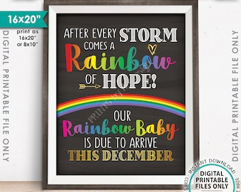 "Rainbow Baby Pregnancy Announcement, Pregnancy Reveal After Loss, Due in DECEMBER Dated Chalkboard Style PRINTABLE 8x10/16x20"" Sign <ID>"