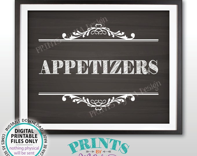 """Appetizers Sign, Hors d'oeuvres, Food Starters, Graduation Birthday Retirement Wedding Shower, PRINTABLE 8x10"""" Chalkboard Style Sign <ID>"""