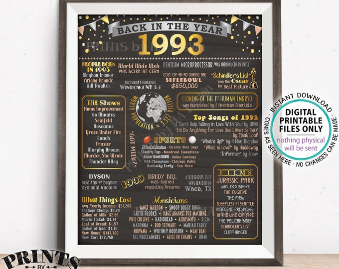 """Back in 1993 Poster Board, Flashback to 1993, Remember 1993, USA History from 1993, PRINTABLE 16x20"""" 1993 Sign <ID>"""