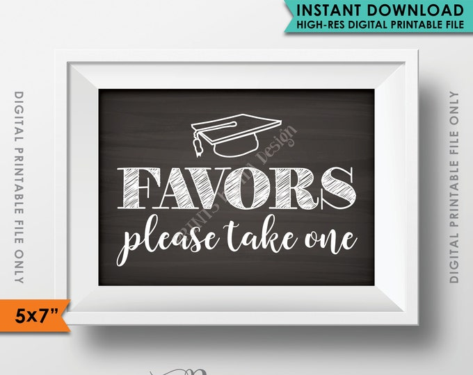 "Favors Sign, Graduation Favors, Graduation Party Decoration, Graduation Party Favors, Chalkboard, 5x7"" Instant Download Digital Printable"
