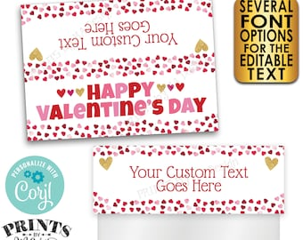 "Valentine's Day Goodie Bag Labels, Valentine's Day Party Favors, PRINTABLE 5x7"" Cards for Plastic Bags <Edit Yourself with Corjl>"