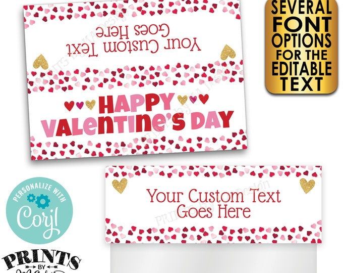 """Valentine's Day Goodie Bag Labels, Valentine's Day Party Favors, PRINTABLE 5x7"""" Cards for Plastic Bags <Edit Yourself with Corjl>"""