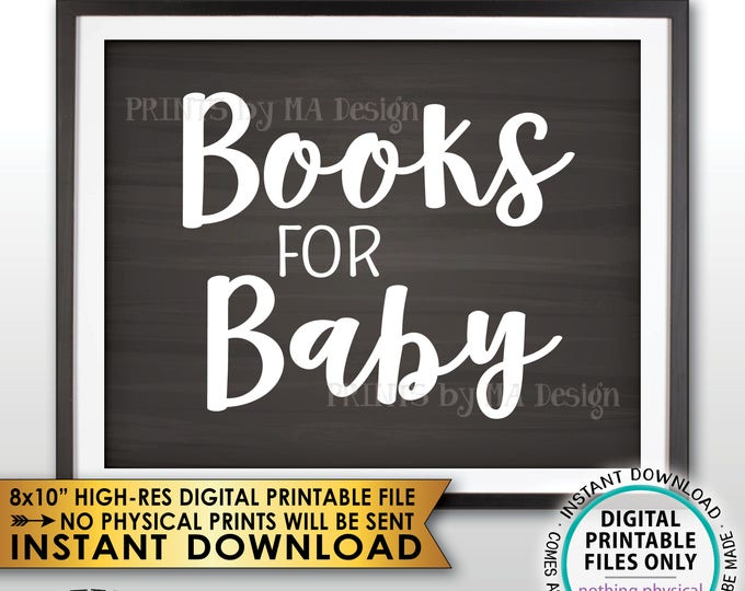 """Books for Baby Sign, Baby Books Sign, Books for Baby Shower, Baby Shower Decor, Baby Shower Idea, PRINTABLE 8x10"""" Chalkboard Style Sign <ID>"""