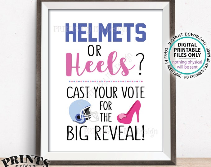 """Gender Reveal Party Voting Sign, Football Helmets or Heels Cast Your Vote Pink or Blue, Boy or Girl, PRINTABLE 8x10"""" Gender Reveal Sign <ID>"""