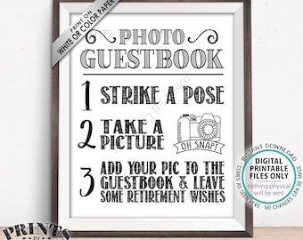 "Retirement Photo Guestbook Sign, Add Your Picture to the Guest Book and Leave Retirement Wishes Sign, PRINTABLE 8x10"" Retirement Sign <ID>"