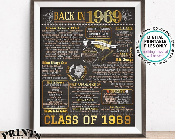 "Back in 1969 Poster Board, Class of 1969 Reunion Decoration, Flashback to 1969 Graduating Class, PRINTABLE 16x20"" Sign <ID>"