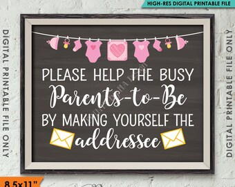 Baby Shower Address Envelope Sign, Help Parents-to-Be Address envelope Shower Decor, It's a Girl, 8.5x11 Instant Download Digital Printable