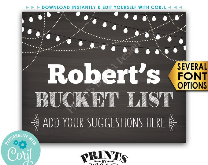 """Bucket List Sign, Share Your Suggestions Here for the Bucket List, PRINTABLE 8x10"""" Chalkboard Style Sign  <Edit Yourself with Corjl>"""