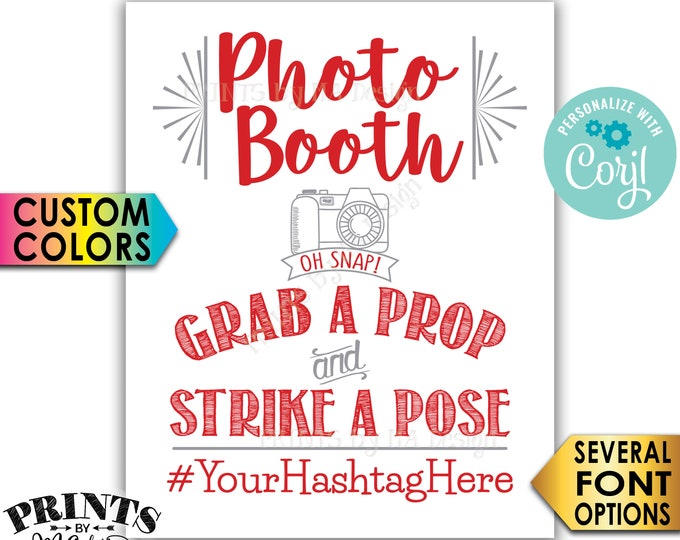 """Photobooth Sign, Share on Social Media, Custom Colors, PRINTABLE 8x10/16x20"""" Hashtag Sign, Wedding Photo Booth <Edit Yourself with Corjl>"""