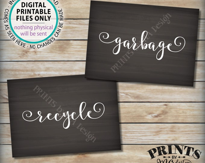 """Garbage and Recyclable Signs, Trash & Recycling, Party Clean Up the Mess, 2 PRINTABLE 5x7"""" Chalkboard Style Signs <ID>"""