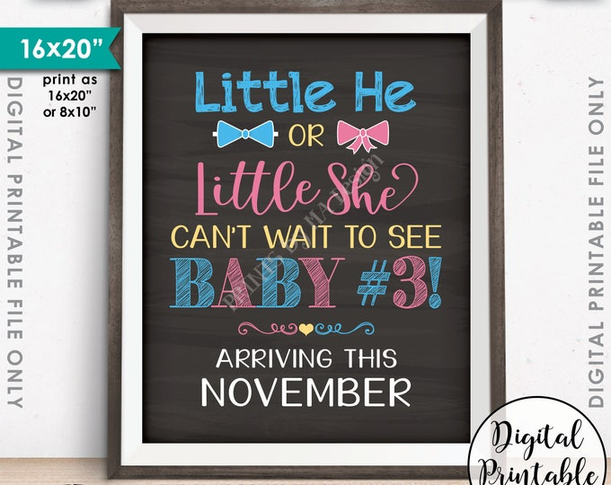 Baby #3 due Pregnancy Announcement, Little He or Little She Can't Wait to See Baby #3 in NOVEMBER Dated Chalkboard Style PRINTABLE Sign <ID>