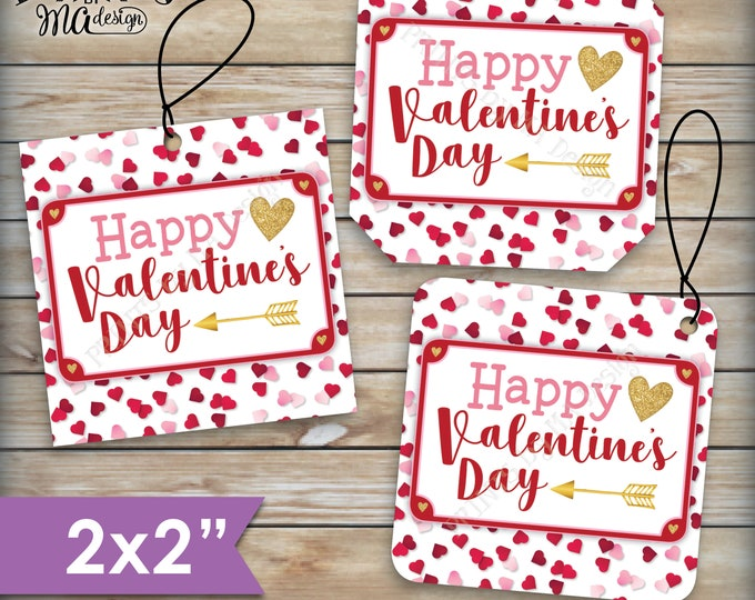 "Valentine's Day Tags, Valentines Day Cards, Treat Bag, Valentine's Goodie Bag, School Valentines, 2"" tags on PRINTABLE 8.5x11"" Sheet <ID>"