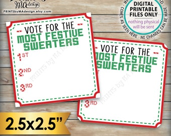 "Most Festive Sweater Voting Ballots, Cast Your Vote, Tacky Sweater Party Voting Station, Ugly Sweater, Ugliest, PRINTABLE 2.5"" Ballots <ID>"