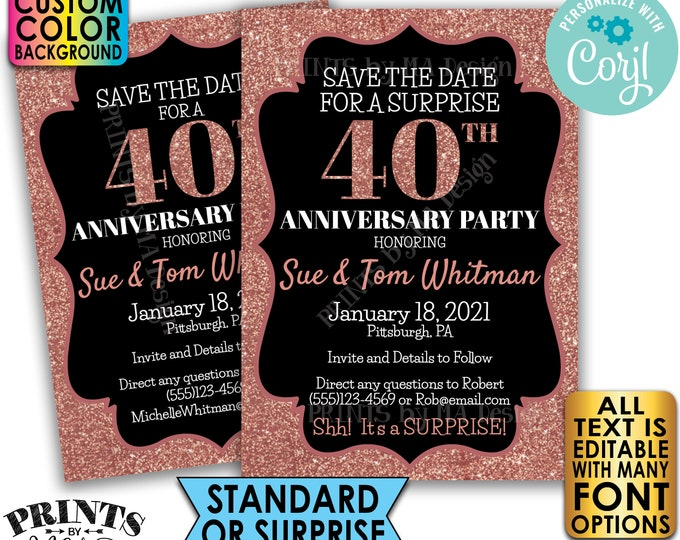 "Rose Gold Glitter Anniversary Party Save the Date, Surprise or Standard Invite, Custom PRINTABLE 5x7"" Digital File <Edit Yourself w/Corjl>"