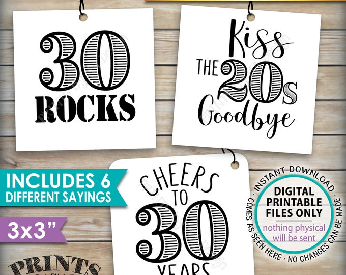 """30th Birthday Party Candy Signs, Candy Bar, 30 Sucks Blows Rocks, Kiss 20s Goodbye, PRINTABLE Square 3x3"""" tags on 8.5x11"""" Instant Download"""