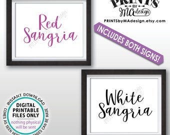 """Sangria Signs, Red Sangria and White Sangria Signs, Red & White Sangria Station, Wedding Shower,  Pink/Black, Two PRINTABLE 8x10"""" Signs <ID>"""