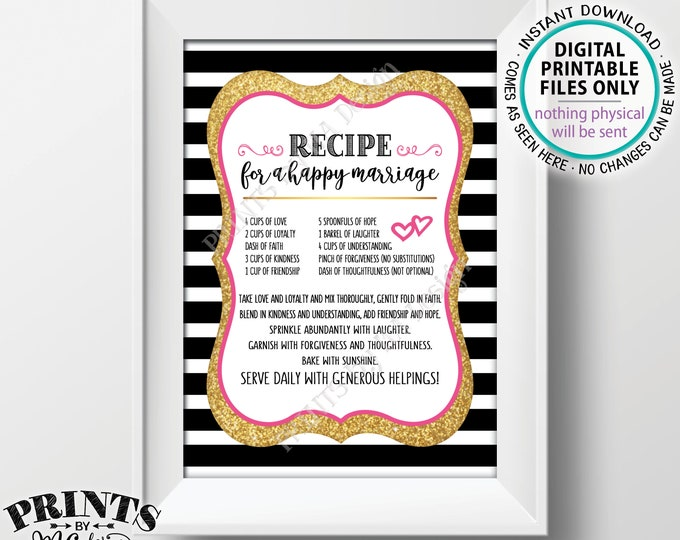 "Recipe for a Happy Marriage Sign, Key to a Happy Marriage, Cute, Funny, Marriage Advice, PRINTABLE 5x7"" Black Pink & Gold Wedding Sign <ID>"