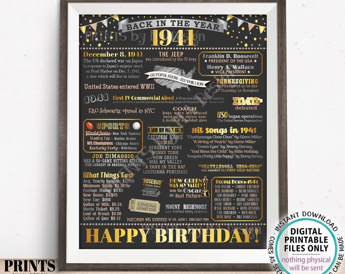 "Back in the Year 1941 Birthday Sign, Flashback to 1941 Poster Board, '41 B-day Gift, Bday Decoration, PRINTABLE 16x20"" Sign <ID>"