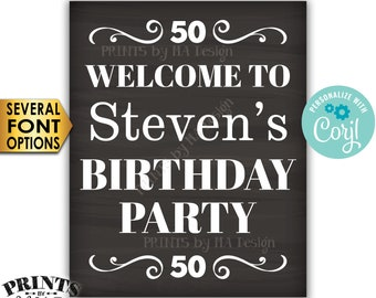"""Welcome to the Birthday Party Sign, Custom PRINTABLE 16x20"""" Chalkboard Style B-day Decoration <Edit Yourself with Corjl>"""