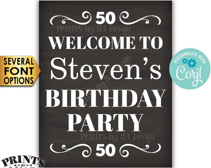 "Welcome to the Birthday Party Sign, Custom PRINTABLE 16x20"" Chalkboard Style B-day Decoration <Edit Yourself with Corjl>"